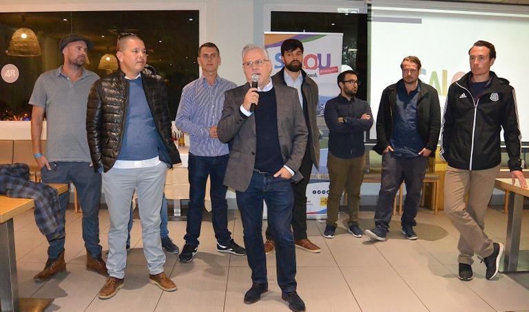 L'alcalde de Salou i president del Patronat, Pere Granados, rep un fam trip format per 108 entrenadors de futbol de Polònia i Dinamarca de 50 clubs i acadèmies