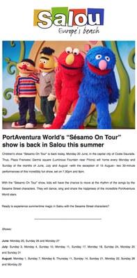 "PortAventura World's ""Sésamo On Tour"", show is back in Salou this summer"